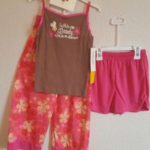 3pc Set Sleep Summer Shorts Top Pants